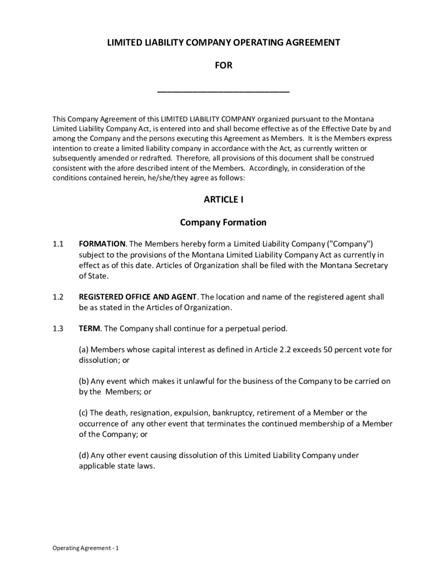 Limited liability company operating agreement edit fill for Operation agreement llc template