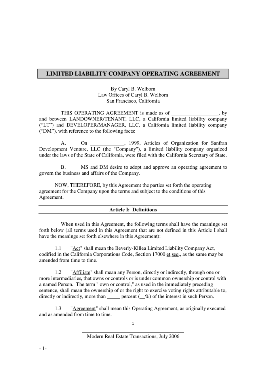 Operating agreement template llc operating agreement for Florida llc operating agreement sample