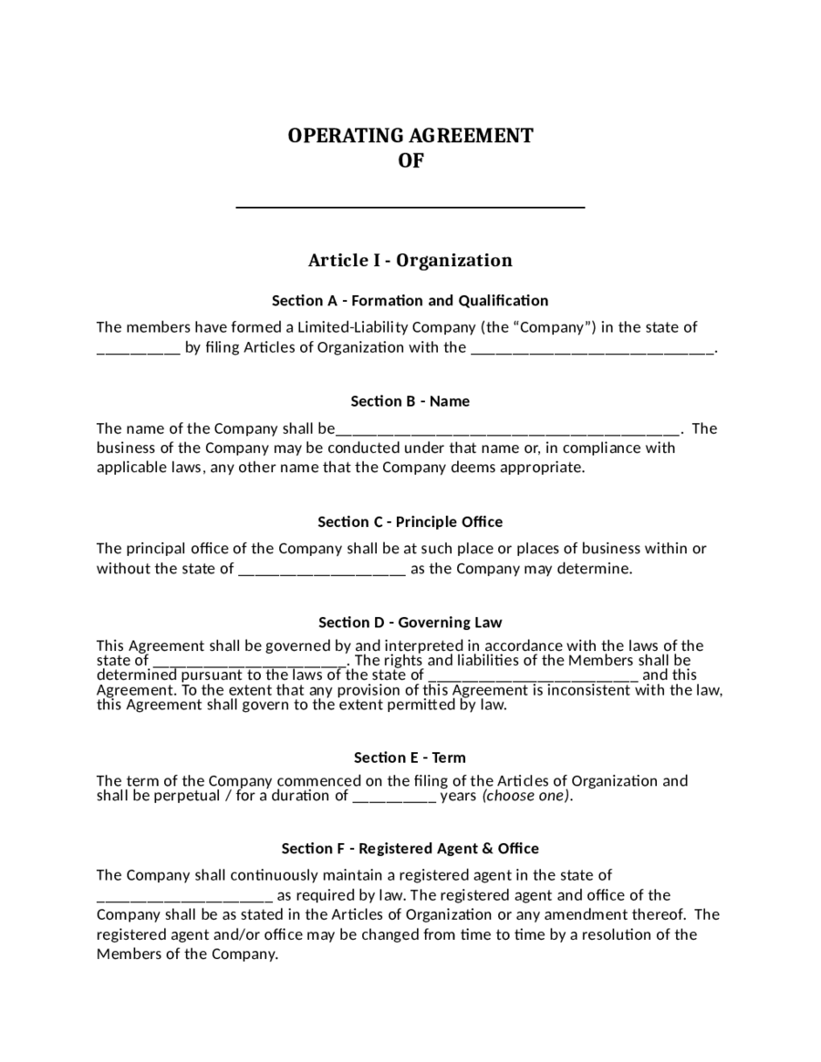 Llc operating agreement template download edit fill for Operation agreement llc template