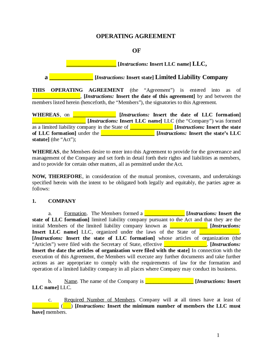 Operating agreement llc template free 28 images sle for Florida llc operating agreement sample