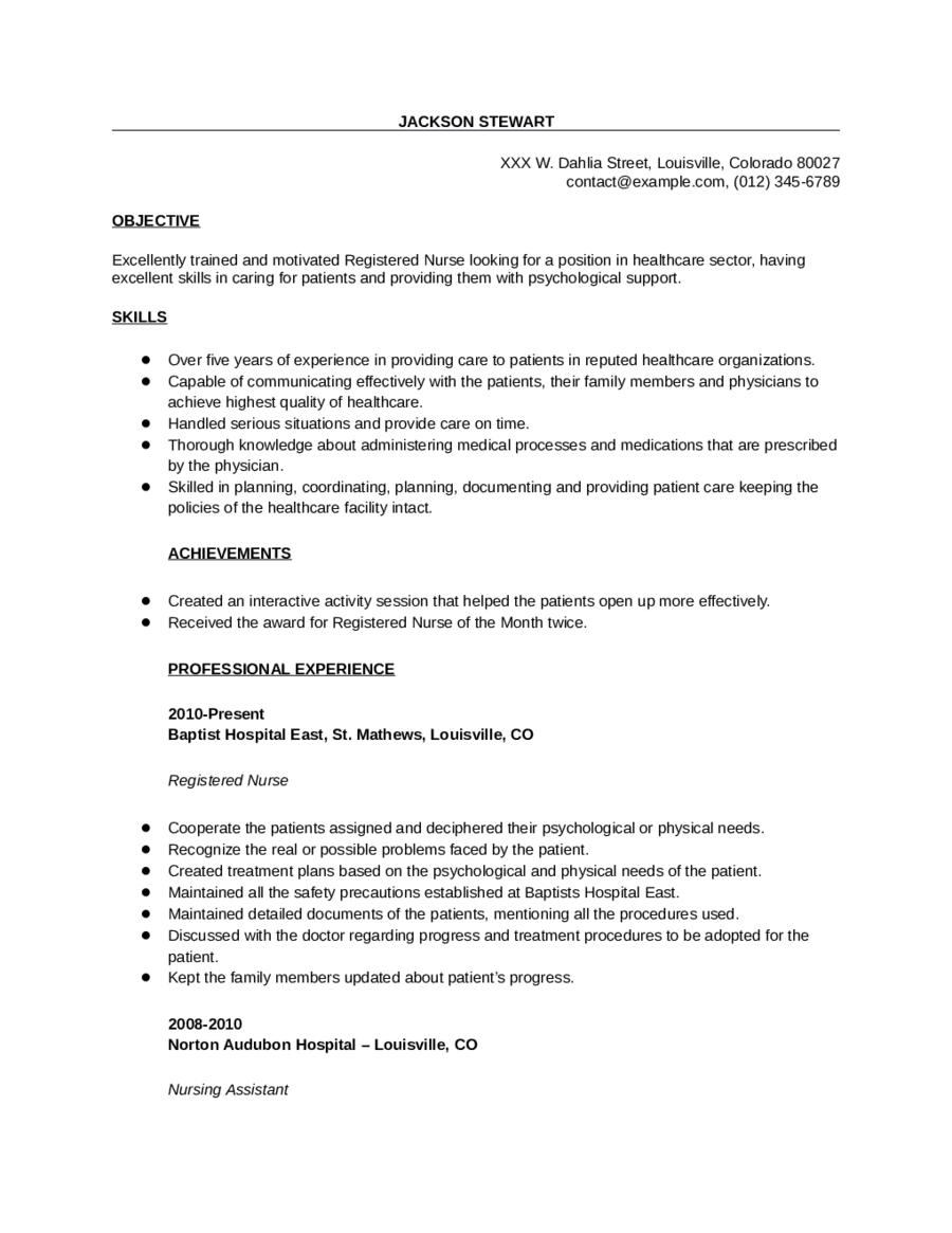 2018 nursing resume fillable printable pdf forms handypdf