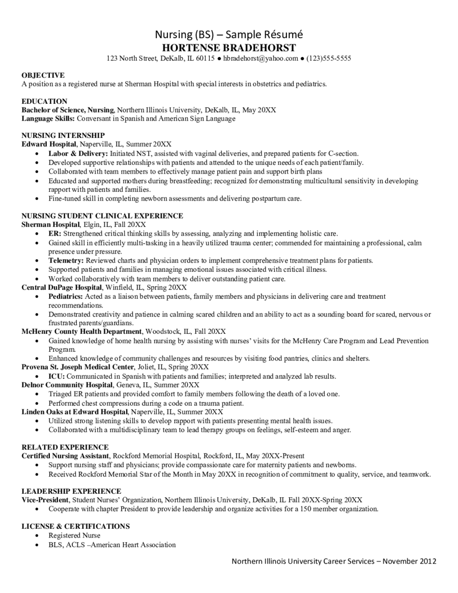 2020 Nursing Resume Fillable Printable Pdf Forms Handypdf