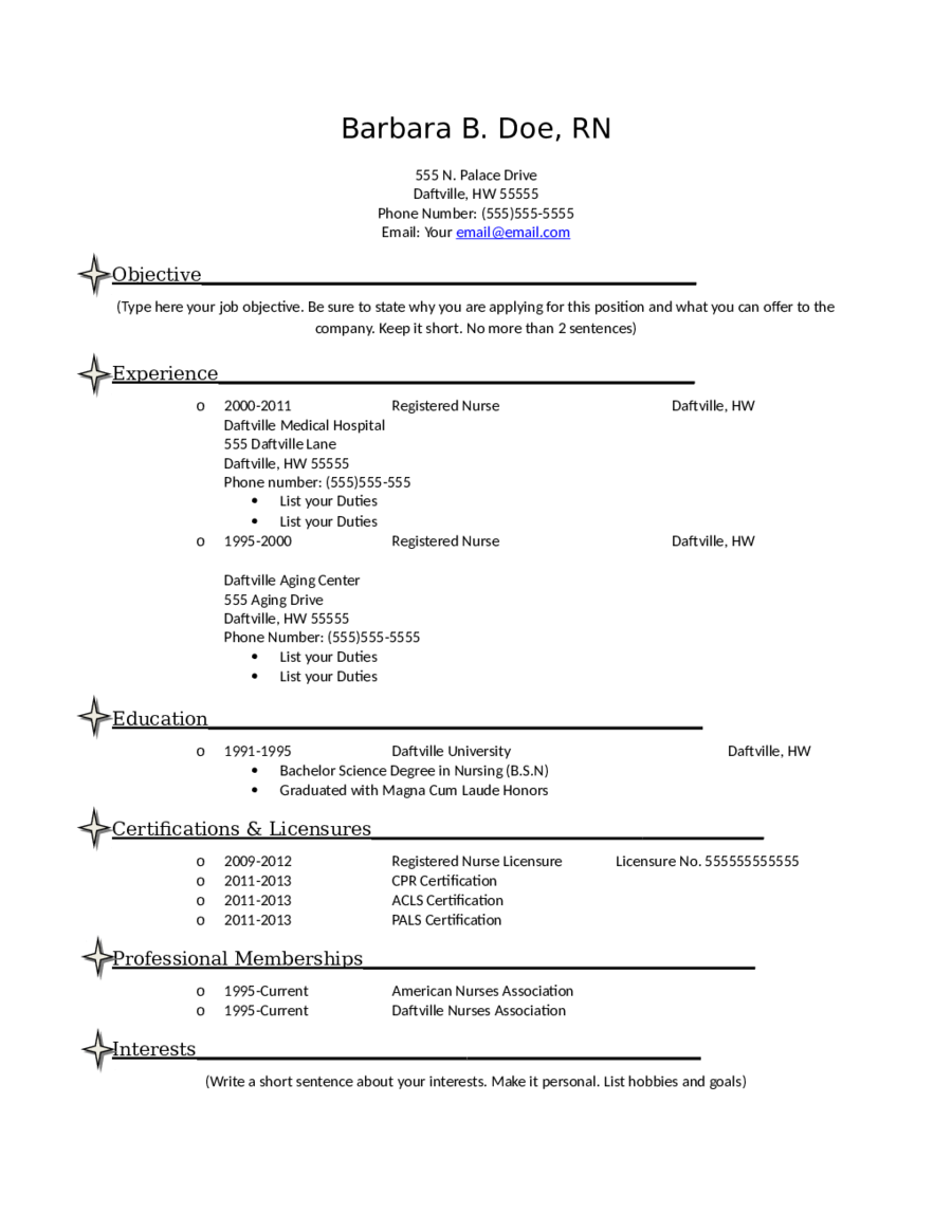 Nursing Resume  Fillable Printable Pdf  Forms  Handypdf