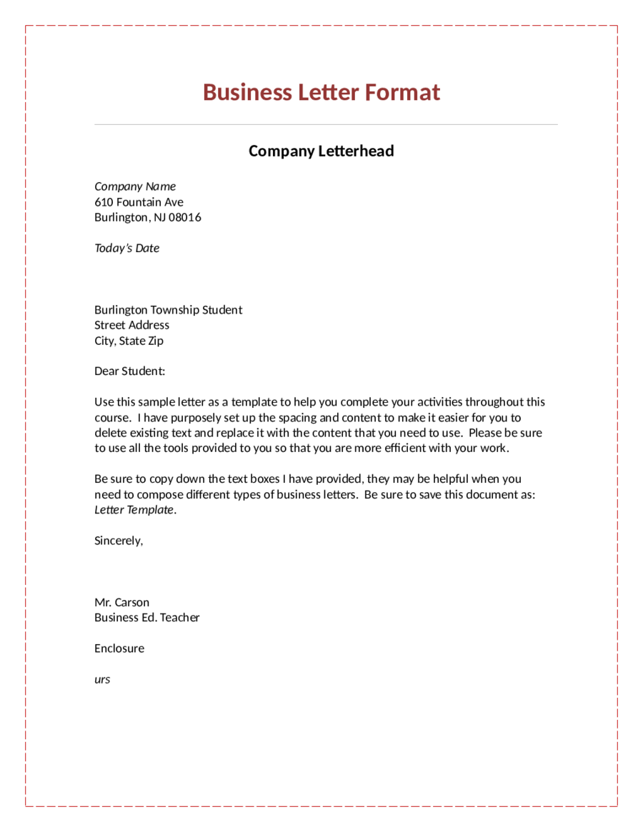 formal letter format letterhead