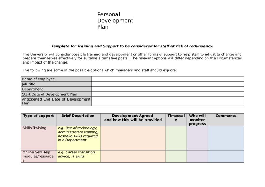 Personal Development Plan Fillable Printable PDF Forms - Personal business plan template