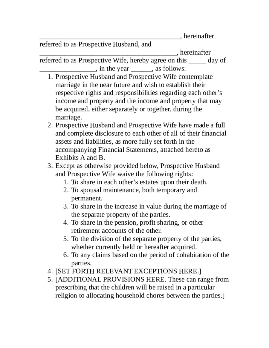 Prenuptial Agreement Example Sample Pros Prenuptial