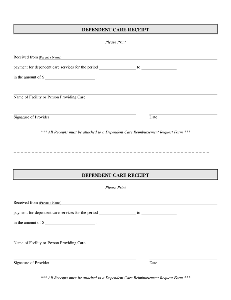 Dependent Care Receipt Template Edit Fill Sign Online Handypdf - Reimbursement invoice template