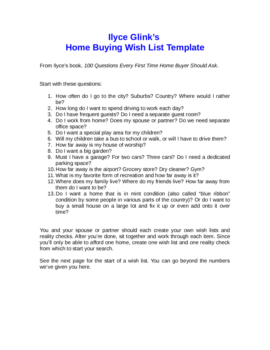Home buying wish list template edit fill sign online for Home wish list