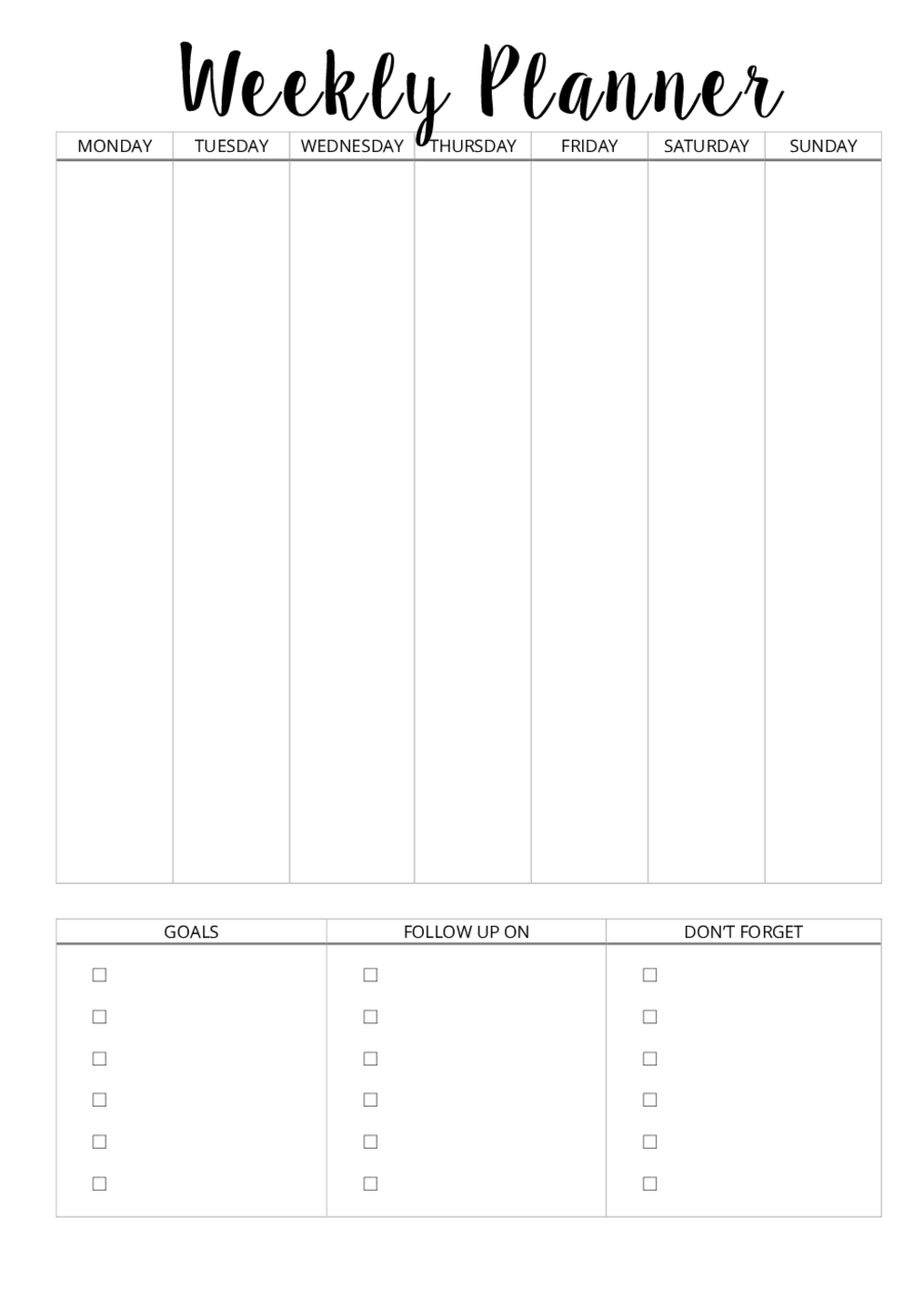 picture regarding Weekly Schedule Template Printable identified as 2019 Weekly Planner Template - Fillable, Printable PDF