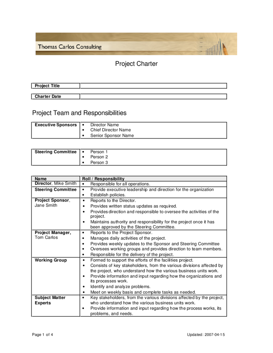 team charter template sample - pmi project charter template edit fill sign online