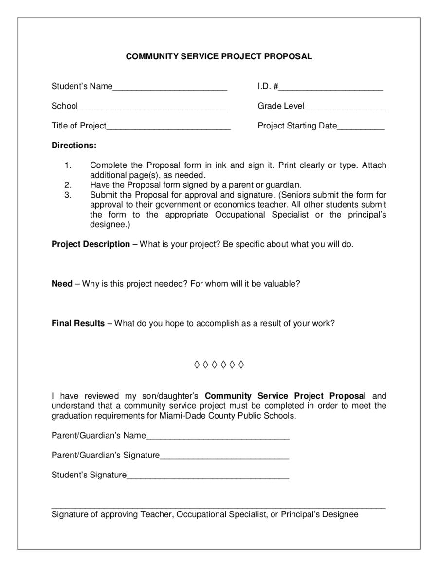 2018 project proposal template fillable printable pdf for Community service proposal template