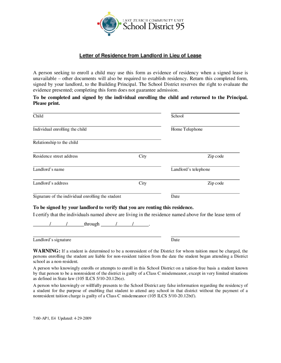 Proof Of Residency Letter  Fillable Printable Pdf  Forms