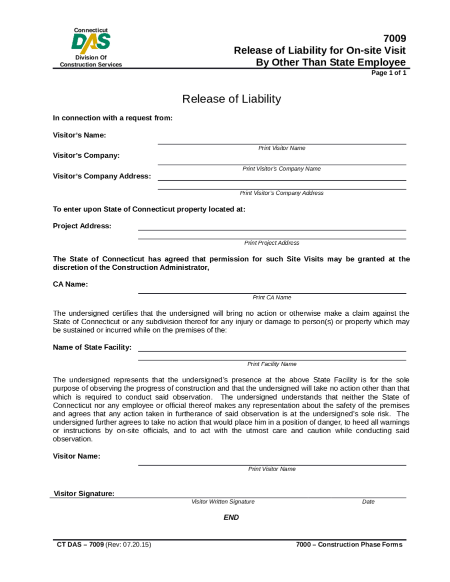 Release Of Liability For On Site Visit  General Release Of Liability Form Template