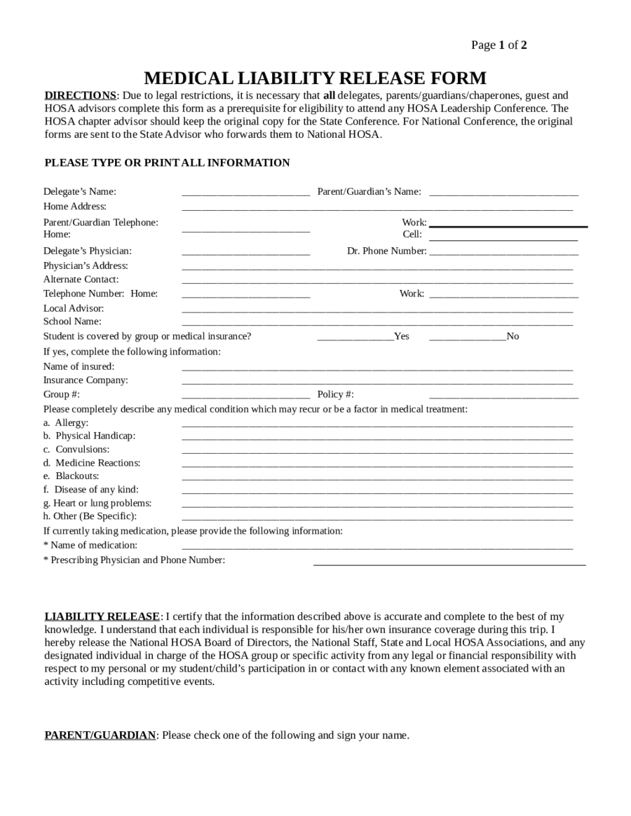 Medical Liability Release Form Edit Fill Sign Online Handypdf