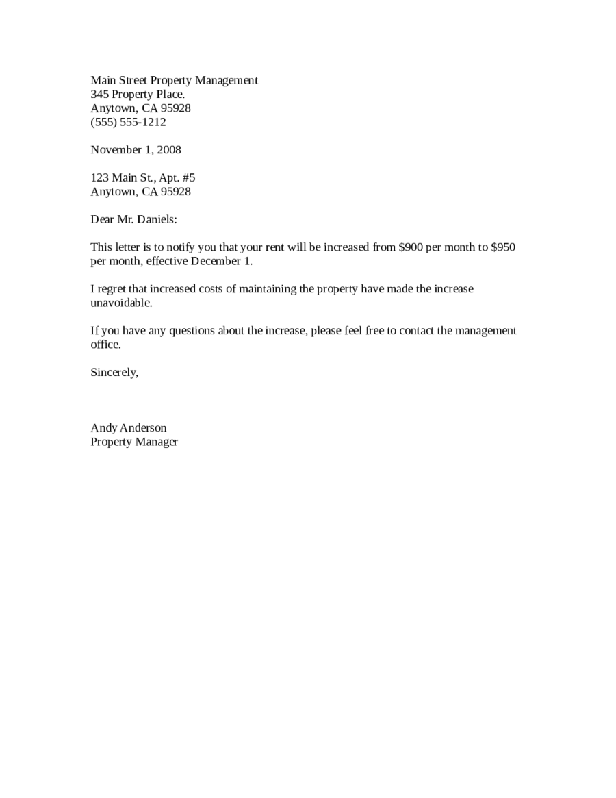 Awesome Rent Letter
