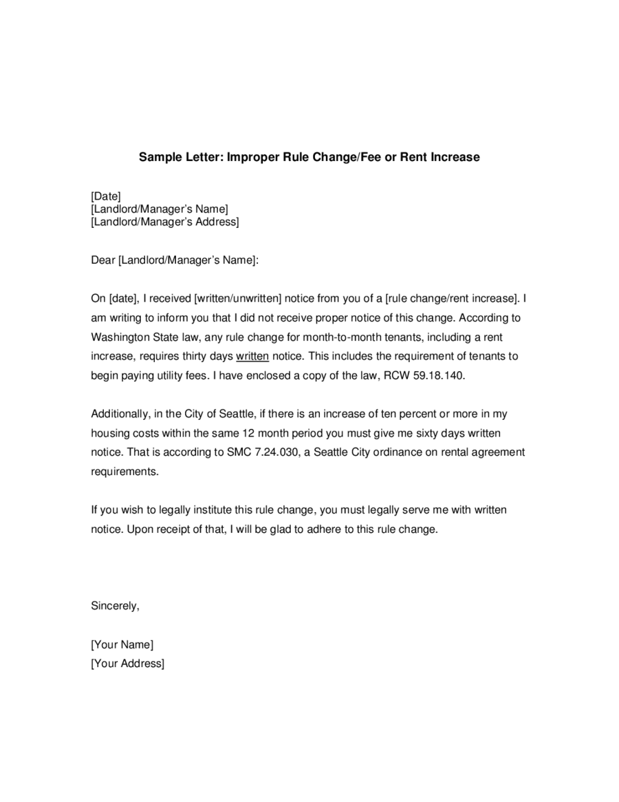 Sample rent increase letter template spiritdancerdesigns Choice Image
