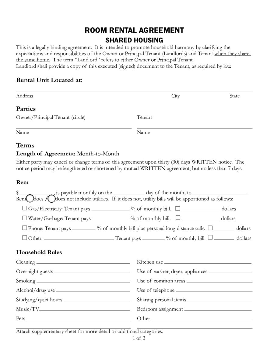 Room Rental Agreement Template Shared Housing Edit Fill Sign