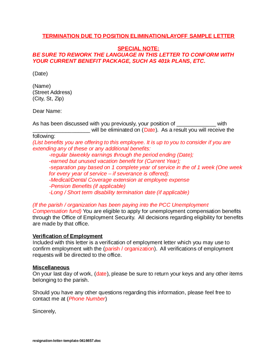 Resignation Letter Samples  Fillable Printable Pdf  Forms