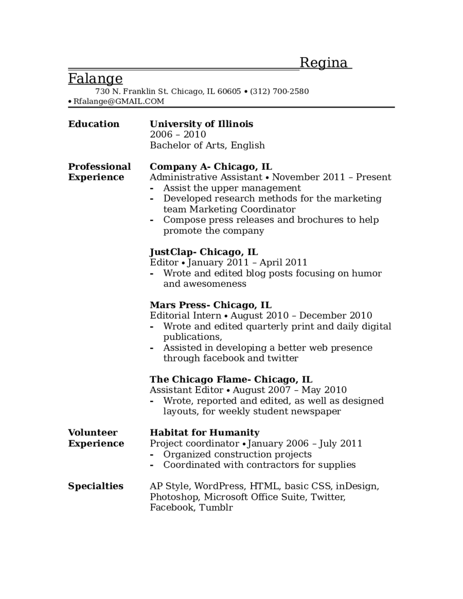 example objective in resumes