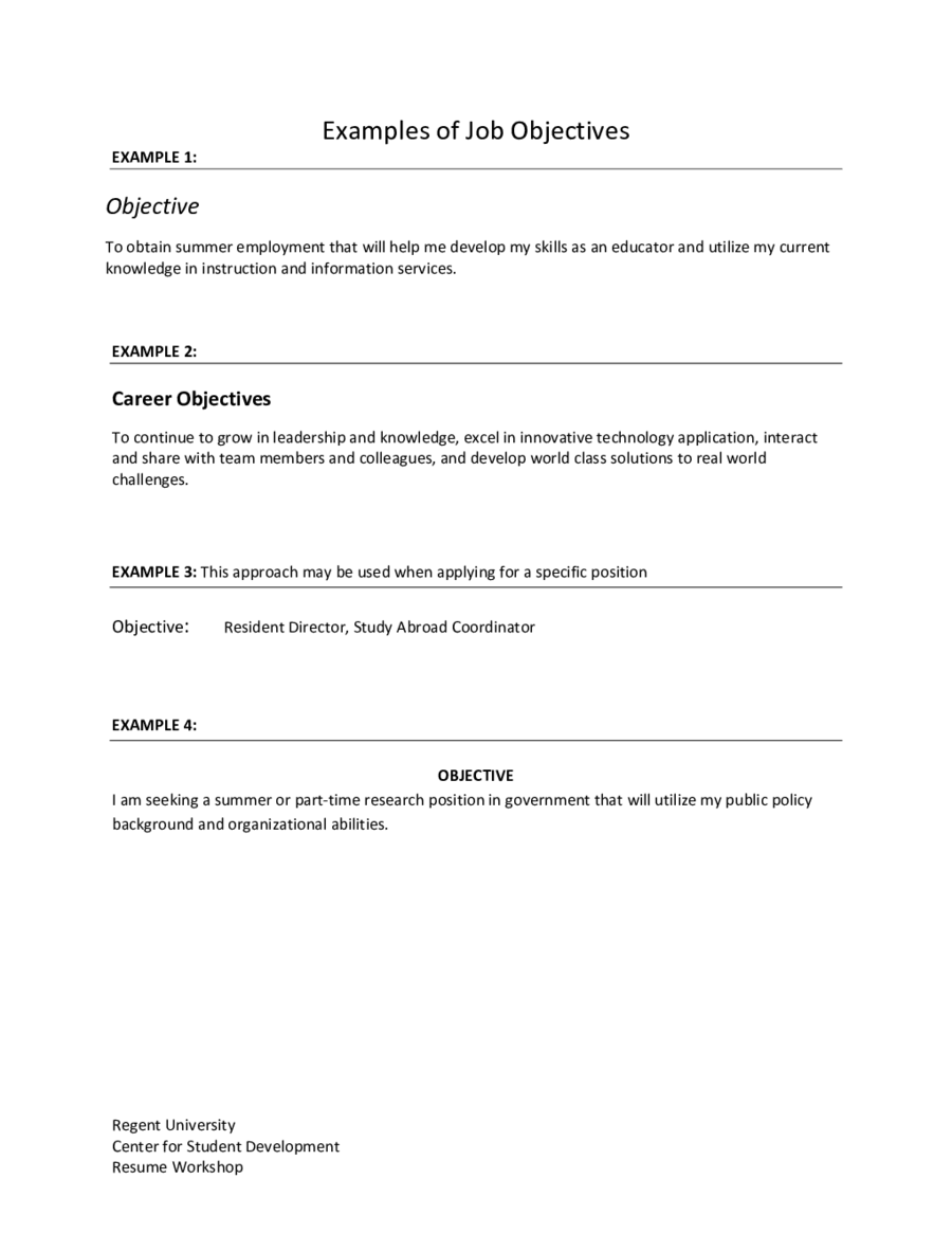 Example Of Resume Objective Edit Fill Sign Online Handypdf