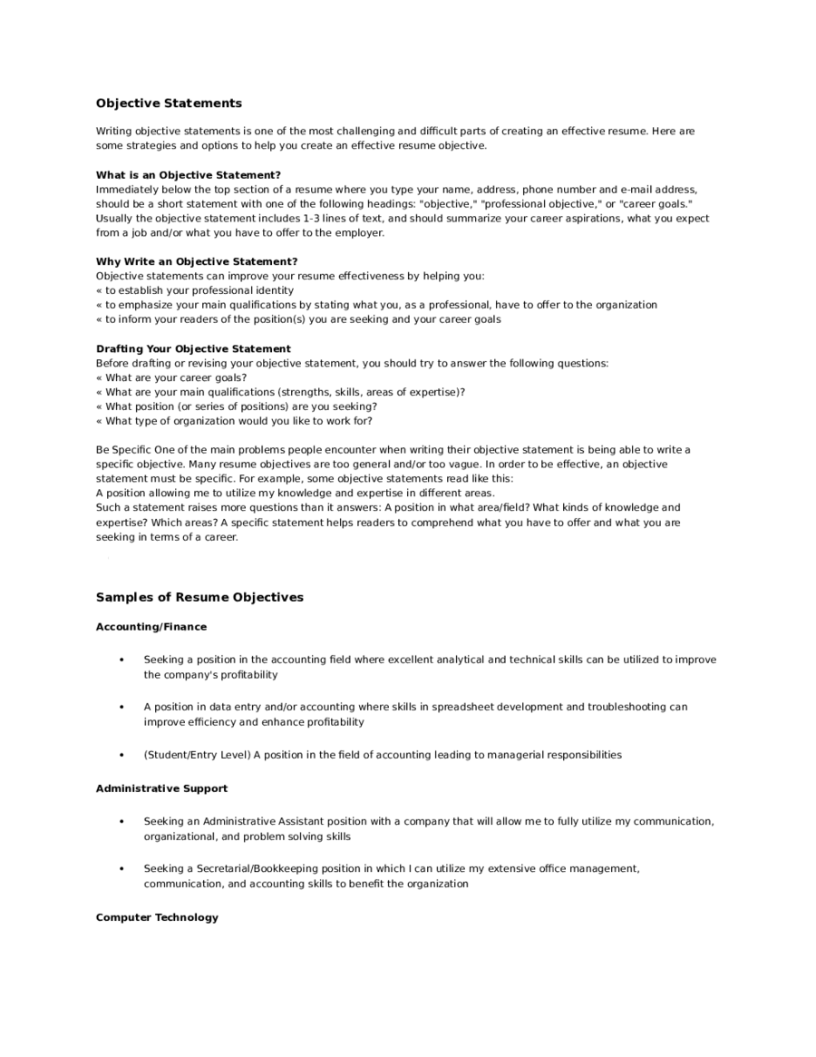 Resume Objective Examples  Fillable Printable Pdf  Forms