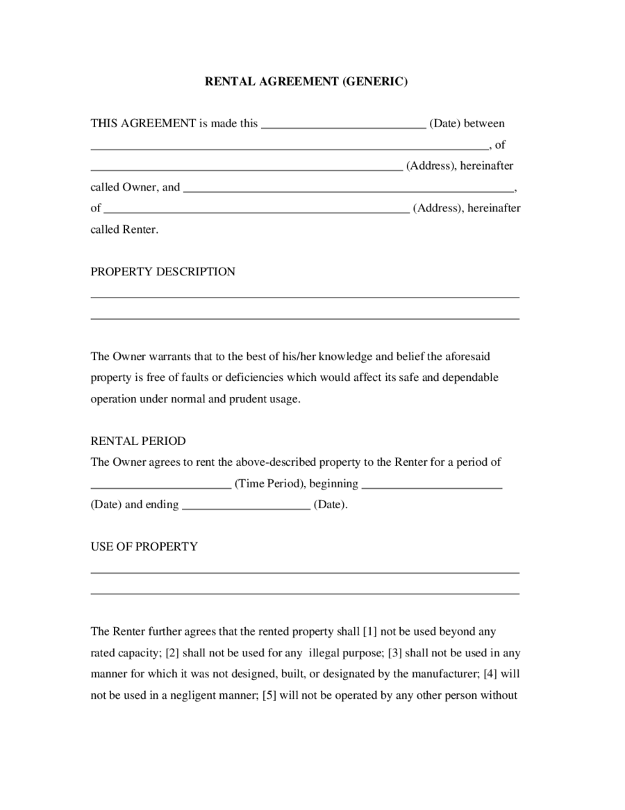 2017 rental agreement fillable printable pdf forms handypdf simple rental agreementgeneric madrichimfo Images