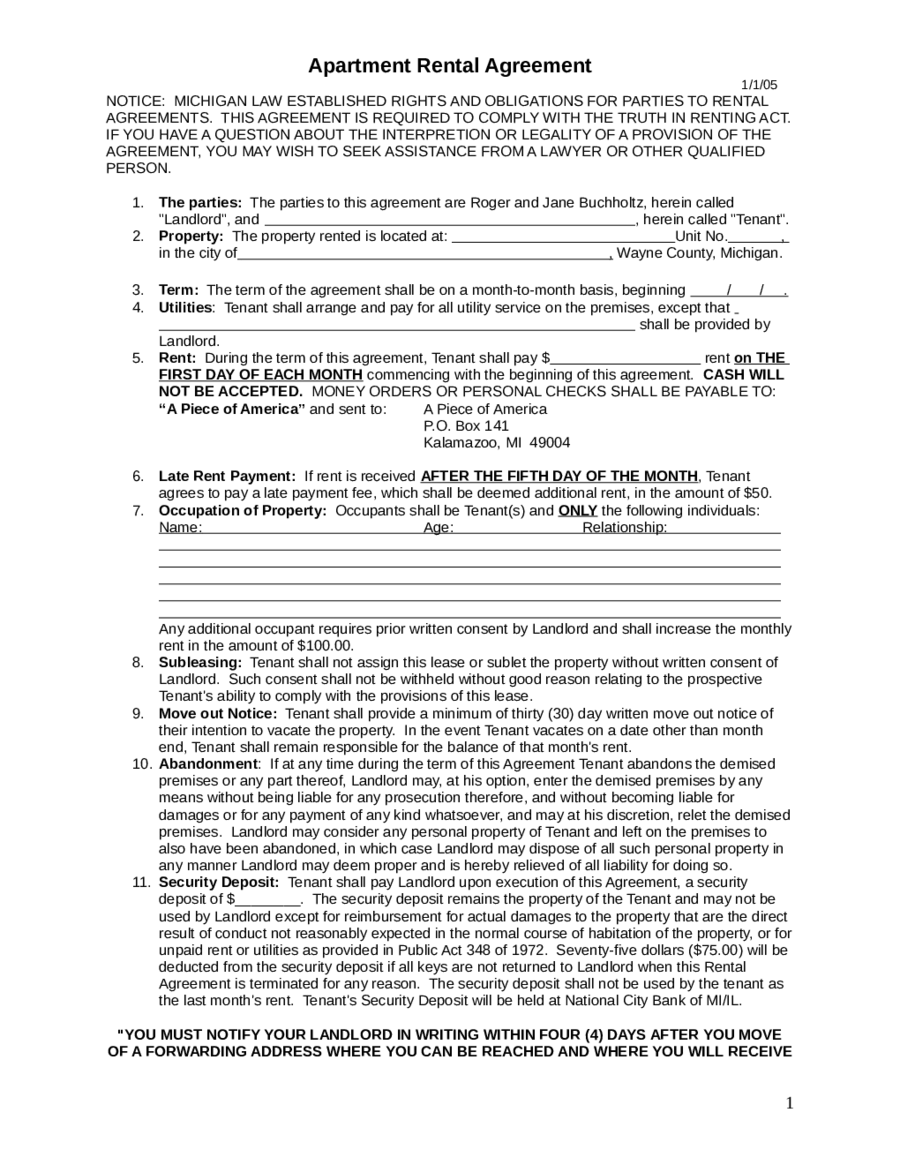 2018 Rental Agreement - Fillable, Printable PDF & Forms | Handypdf