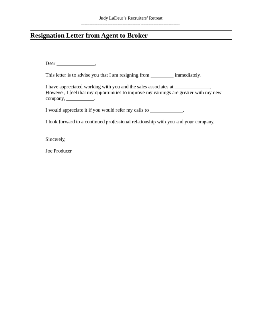 new format resignation sample of resignation letter