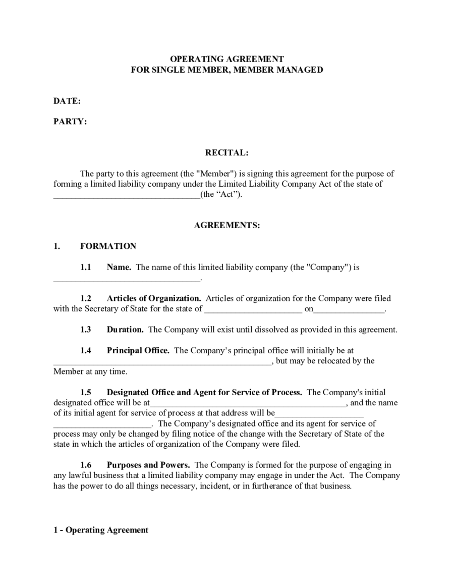 Single member llc operating agreement template edit fill sign online handypdf for Free operating agreement for single member llc