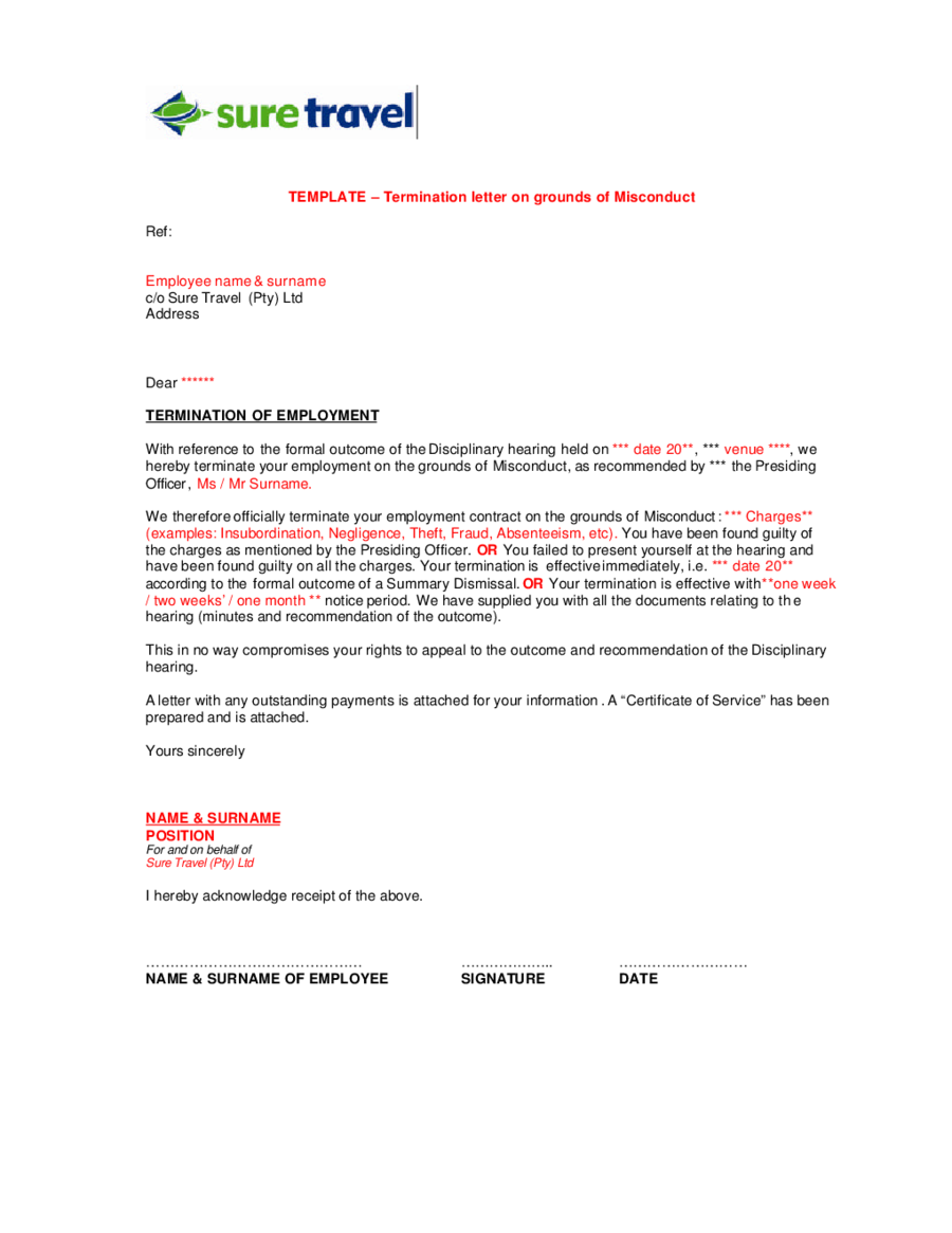 Termination Letter Templates On Grounds Of Misconduct  Letter Of Termination Of Employment Template
