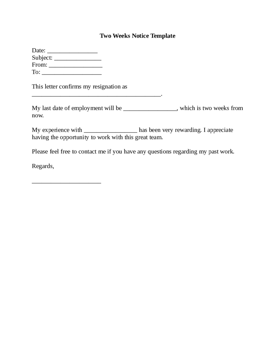 Example Of A Two Weeks Notice Letter  2 Week Notice Template